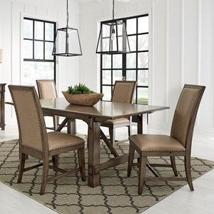 "Traditional 5-Piece Table and Chair Set with 18"" Extension Leaf"