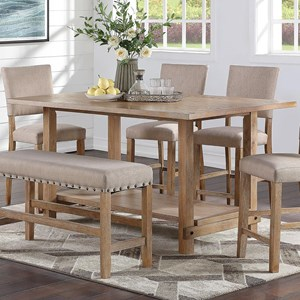 Rustic Counter Height Dining Table with Open Bottom Shelf