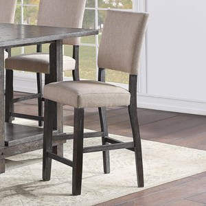 Rustic Counter Height Dining Chair with Upholstered Seat and Back 2-Pack