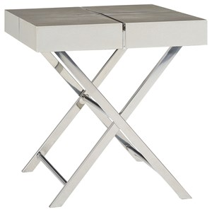Contemporary End Table with X-Crossed Scissor Bases
