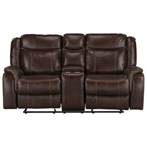 Casual Manual Reclining Gliding Loveseat with Cup Holders and Storage Console