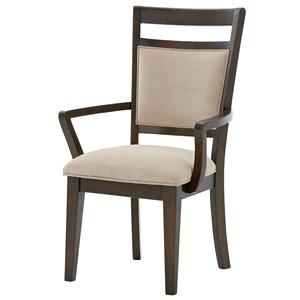 Arm Chair with Upholstered Seat and Back with Ladder Back Wood Detailing