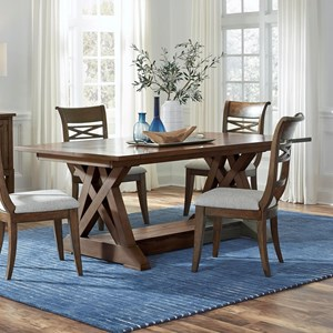"Transitional Rectangular Dining Table with 2 10"" Leaves and Trestle Base"