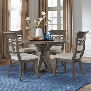 Transitional 5-Piece Round Table and Chair Set with Pedestal Base
