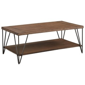 Rectangular Coffee Table with Plank Top