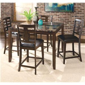5 Piece Counter Height Dining Set with Faux Marble Top