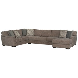 Transitional Sectional Sofa with Chaise and 6 Accent Pillows
