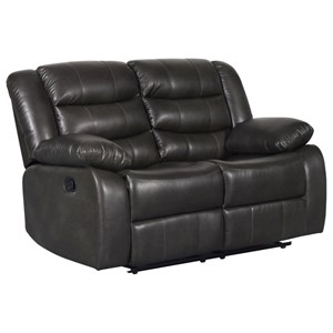 Casual Manual Motion Loveseat with Faux Leather Look