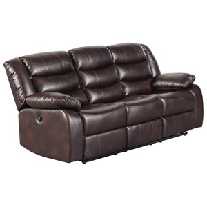 Casual Power Motion Sofa with Drop Down Table and Faux Leather Look