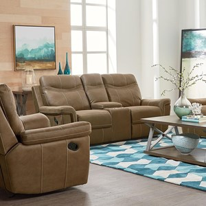 Contemporary Stone Colored Reclining Console Loveseat