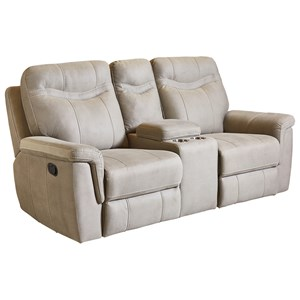 Contemporary Power Reclining Loveseat with Console