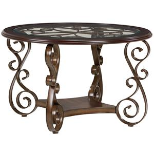 Round Dining Table with Metal Scroll Pattern