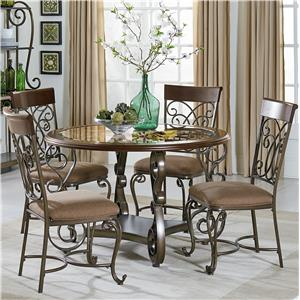 Round Table and Chair Set With Metal Scroll Detail