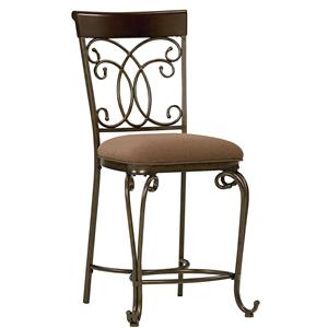 Upholstered Counter Height Chair With Ornate Metal Back