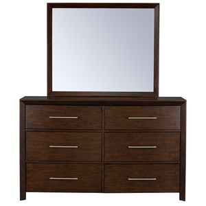 Contemporary Dresser and Mirror Combination with 6 Drawers