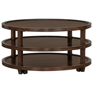 Transitional Round Tiered Cocktail Table with Casters