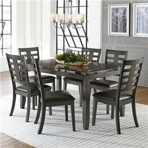 Contemporary 7-Piece Dining Set with Six Chairs and Faux Marble Top