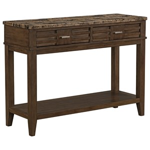 Contemporary Server with 2 Drawers, 1 Open Shelf, and Faux Marble Top