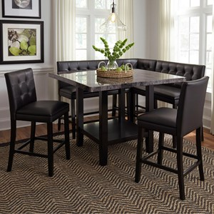 6 Piece Counter Height Table with Faux Marble Top and Upholstered Chair and Bench Set