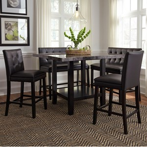 5 Piece Counter Height Table with Faux Marble Top and Upholstered Chair and Bench Set