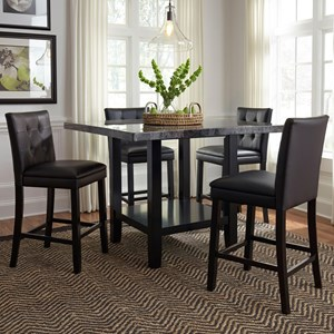 5 Piece Counter Height Table with Faux Marble Top and Upholstered Chair Set