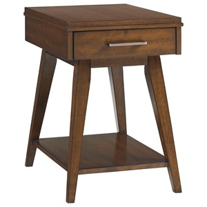 Mid-Century Modern Chairside Table with 1 Drawer and 1 Shelf