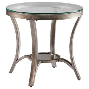 Roung Metal End Table with Glass Top