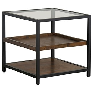 Industrial Square End Table with Glass Top