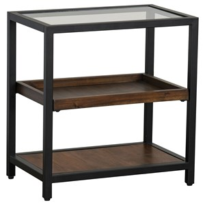 Industrial Chairside Table with Glass Top