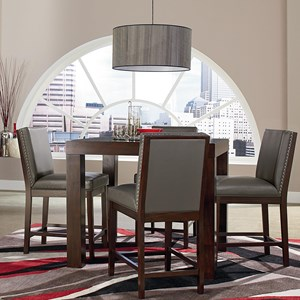 Square Counter Height Table and Upholstered Stool Set