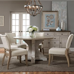 Dining Set with Round Table and Four Side Chairs