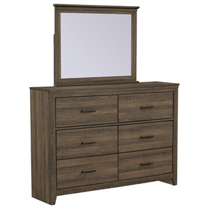 Contemporary Dresser and Mirror Comnination with 6 Drawers