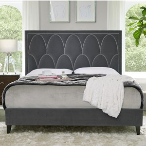 Transitional King Upholstered Bed with Decorative Nailheads