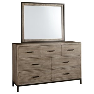 Industrial Rustic Dresser & Mirror with Felt Lined Top Drawers