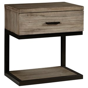 Industrial Rustic Nightstand with Built In Light and Felt Lined Drawer