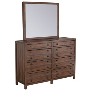 Rustic 8-Drawer Dresser and Mirror Set