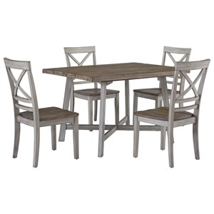 Rustic Two-Tone Table and Chair Set