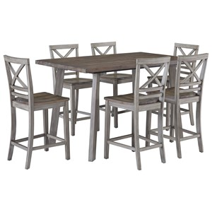 Rustic Table Set with Six Chairs