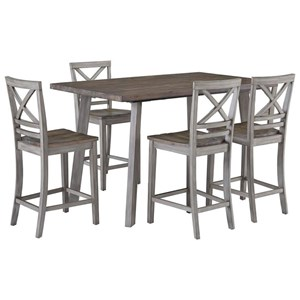 Rustic Counter Height Table and Four Chair Set