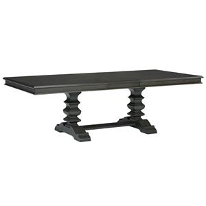 Trestle Dining Table with Smooth Grey Finish