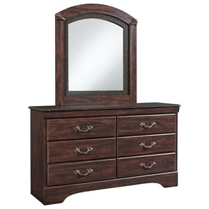 6 Drawer Dresser and Mirror Combo with Faux Marble Accents