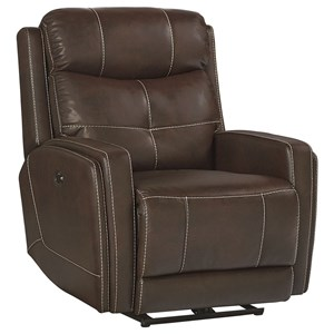 Performance Fabric Power Motion Glider Recliner with Topstitching