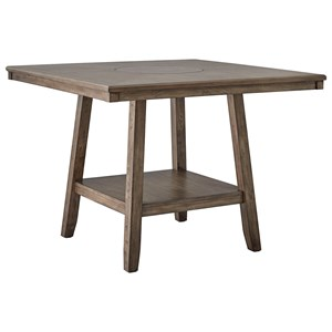 Transitional Counter Height Dining Table with Lower Open Shelf