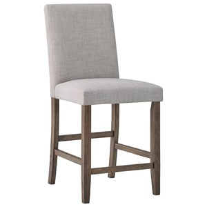 Transitional Counter Height Chair with Nailhead Trim Back