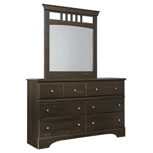 Rustic 6 Drawer Dresser & Mirror with Antiqued Finish