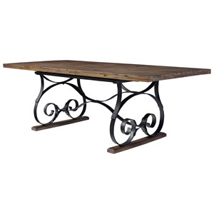 Trestle Dining Table with Scroll Metal Base