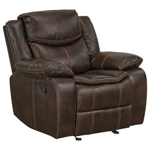 Transitional Manual Glider Recliner with Pillow Puff Arms