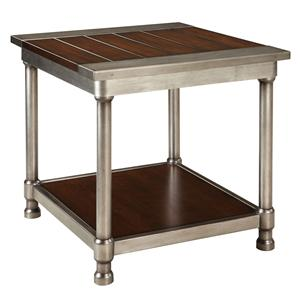 Contemporary Single Shelf End Table with Plank-Style Wood Top and Metal Cylindrical Legs