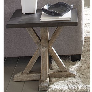 Transitional End Table with Truss Base
