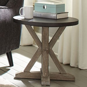 Transitional Round End Table with Truss Base
